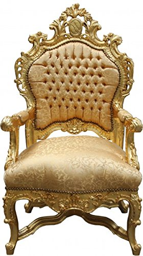 Casa Padrino Barock Luxus Thron Sessel Gold Muster/Gold - Barock Möbel Thron...