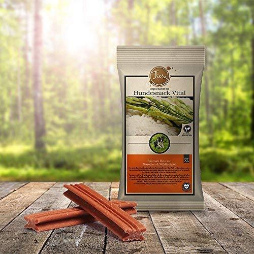 Tiera Vital fleischlose Hunde Leckerlies Basmati Snack XL mit Karotten und Wildlachsöl 3 x 70 g -