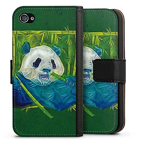 Apple iPhone X Silikon Hülle Case Schutzhülle Granda Panda Pandabär Bär Sideflip Tasche schwarz