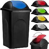 Abfalleimer mit Schwingdeckel 60L schwarz/blau 68x41x41cm - Mülleimer Abfallbehälter Papierkorb