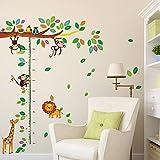 Adhesivo mural decorativo, diseño de jirafa, mono, león y árbol de dibujos con medidor de altura, plástico PVC