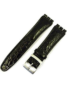 ZeitPunkt Ersatzband Leder Band 19mm für Swatch Uhren schwarz