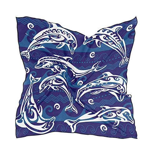 Abstract Navy Blue Ocean Dolphin Women's Polyester Square Scarf Chiffon Lightweight Neck Head Scarves Kerchief for Women Girls -