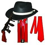 PAPER UMBRELLA Adulto Hombres Pistola Gánster Alta Calidad Set de 4 Piezas Disfraz - Rojo Juego