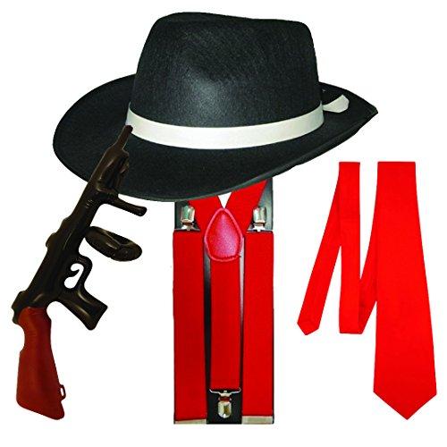 Preisvergleich Produktbild Gangster Fancy Dress 4 Stück Kostüm (Rot)