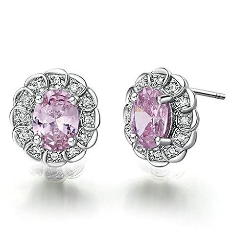 Daesar Gold Plated Earrings Womens Stud Earring Four Pongs Hollow Earring White Gold 13MM