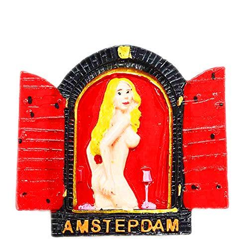 Amsterdam Rotlichtviertel Niederlande 3D Kühlschrank Kühlschrankmagnet Reisestadt Souvenir Collection Küche Dekoration Whiteboard Aufkleber Harz