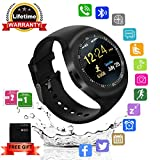 Bluetooth Smartwatch Android iOS per Uomo Donna, Impermeabile Touchscreen Smart Watch Support SIM Card e TF Card, Orologio Intelligente Digitale Telefono con GPS Monitor di Fitness Tracker Sport Whatsapp Elegante per Samsung Phone iphone 7 Plus 6 6S Uomini Bambini Ragazze Ragazzi, Nero