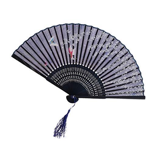 Sakura Muster Hand Fan Faltender Taschen Fan Blau ()