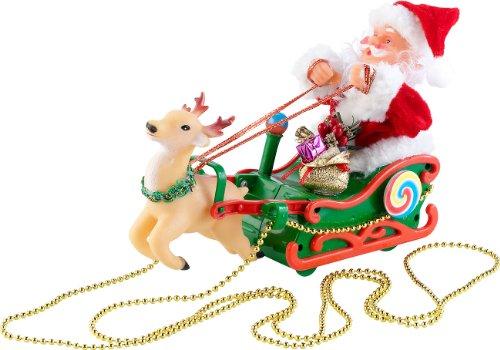 infactory Santa: Weihnachtsmann im schwebenden Schlitten mit Musik (Weihnachtsfiguren mit Musik) (Bell Von Santas Schlitten)