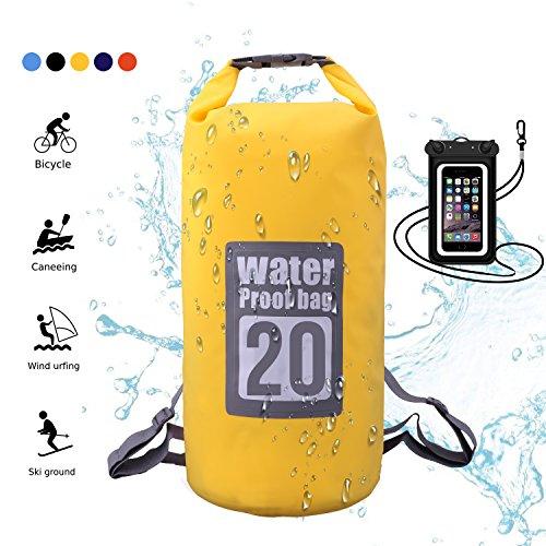 WIN.MAX Wasserdichte Wasserdichter Packsack mit Handybeutel, Gelb, 20L
