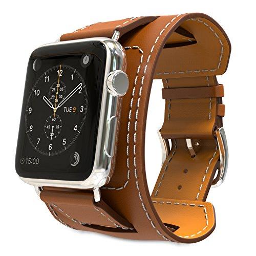 MoKo Armband für Apple Watch 42mm Series 3 / 2 / 1, Cuff Lederarmband Replacement Wrist Band Watchband Strap Watchband Uhrband Uhrenarmband Erstatzband für Apple Watch Nike+ 42mm 2017, Braun