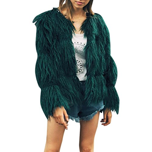 Kunstpelz Mäntel Sunday Neuer Entwurfs Eleganter Warmer Jacken Winter Parka Oberbekleidung (Armeegrün, L) (Ärmellos Entwurf)
