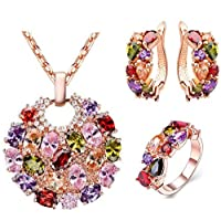 Colorful zircon necklace earrings set ladies jewelry three-piece