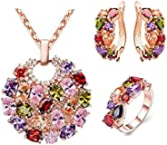 Colorful zircon necklace earrings set ladies jewelry three-piece