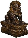 Design Toscano NY13668012 Statua Cinese del Guardiano del Leone Cane Foo, Maschio, Bronzo, 18x11.5x23 cm