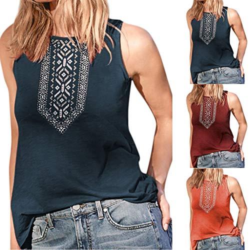 Yvelands Frauen Casual Tank Tops gedrut Oansatz Patchwork ärmelloses T-Shirt Weste lose Bluse(Orange,XL)