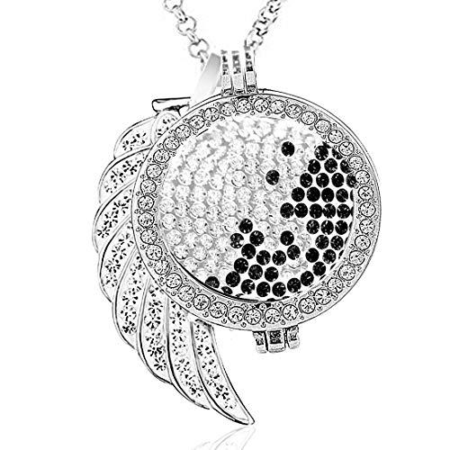 AKKi jewelry Damen Halskette 70 cm Silber Edelstahl Kette und Anhänger mit Münze 33 mm Set Angebot Coin Coins medalion Frauen Schmuck in Geschenktüte Schwarz