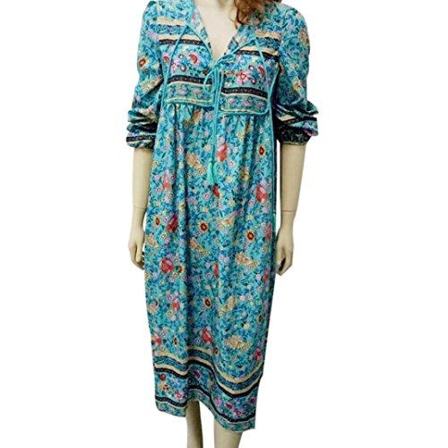MORCHAN Femmes Floral Imprimer Manches Longues Boho Robe Dames soirée Parti Longue Robe Maxi