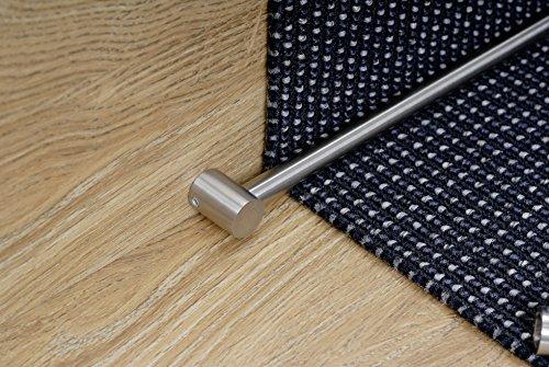 Garduna 1 x Teppichstangen / Treppenstangen Set 70m cm, inkl. Endhalter - echt Edelstahl, voll massiv # 1er Set (1 Stange, 2 Endhalter) - montagefertig!