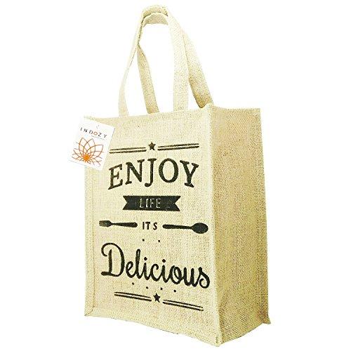 INDOZY Beige Reusable Eco Friendly Jute Handbag With Zip For Women And Men
