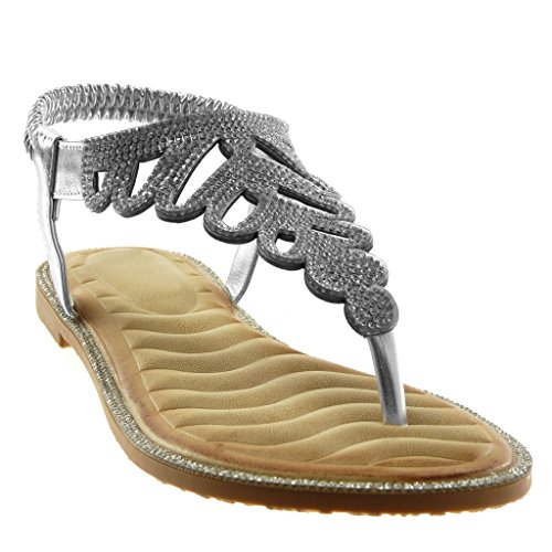 Angkorly Chaussure Mode Sandale Tong Slip-On Salomés Lanière Cheville Femme Strass Diamant Fantaisie Talon Bloc 1 cm Argent