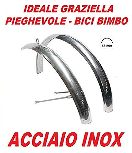 CicloSportMarket - Juego de dos guardabarros de acero inoxidable para bicicleta Graziella plegable, tamaño 20pulgadas