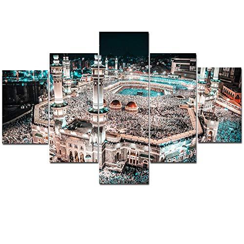 TIANLIANG Malerei Leinwand Modular Home Decor Hohe Qualität 5 Panels Muslimischen Unframed Moderner Wand Kunst Islam Bilder Für Wohnzimmer, 30 X 40 30 X 60 30 X 80 cm