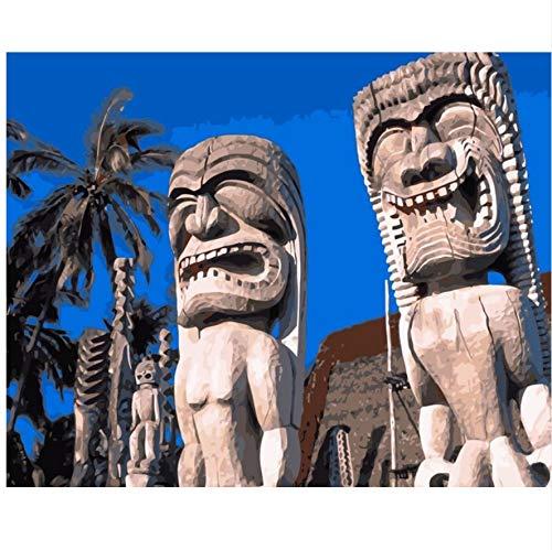WAZHCY Estatuas Hawaianas Tiki Que pintan Cuadros