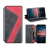 MOBESV Smiley Nokia 8 Sirocco Hülle Leder, Nokia 8 Sirocco Tasche Lederhülle/Wallet Case/Ledertasche Handyhülle/Schutzhülle mit Kartenfach für Nokia 8 Sirocco, Schwarz/Rot