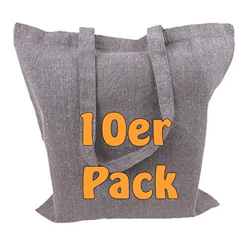 Recyclingtasche aus 100% recycelter Baumwolle Öko - Einkaufstasche robust mit dickem Stoff und Langen Henkeln grau meliert 38x42cm Geschenktasche Jutebeutel 10 Stück Da-tex Material