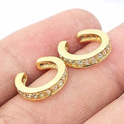 Ensemble de 2 boucles d'oreilles manchette en or avec topaze blanche sur argent, boucles d'oreilles en argent pour cadeau pour femme