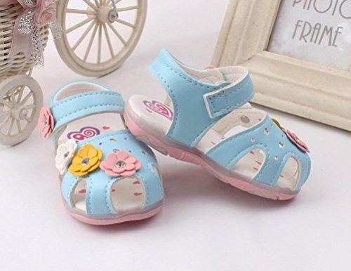 Omiky® Mode 2017 Kleinkind Neue Blumen Mädchen Sandalen beleuchtete Soft-Soled Prinzessin Baby Schuhe Blau