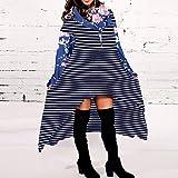 Oliviavan,Frauen lose Hoodie Lange Kapuzenoberteile Damen Sweatshirt Pullover Asymmetrische Bluse Strickjacke Große Größe V-Ausschnitt Mode für Mollige Schwarz Blau Herbst Winter Kleid büro Outfit