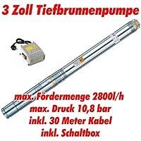 """Agora-Tec® AT- 3"""" Brunnenpumpe 750W mit 30 m Kabel Edelstahl-Tiefbrunnenpumpe mit max: 10,8 bar, 3200l/h"""