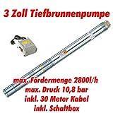 Agora-Tec AT- 3 Brunnenpumpe 750W mit 30 m Kabel Edelstahl-Tiefbrunnenpumpe mit max: 10,8 bar, 3200l/h