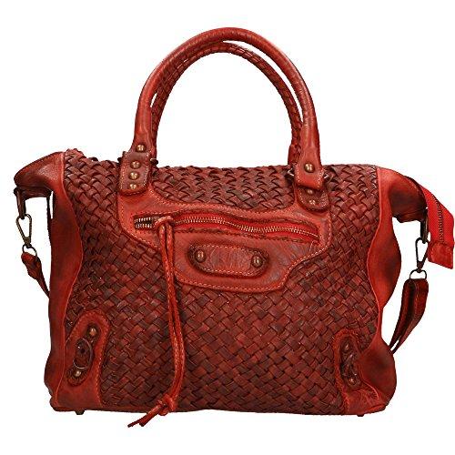 Sac à main femme Chicca Borse Vintage En cuir tressé authentique Made in Italy 36x27x13 Cm