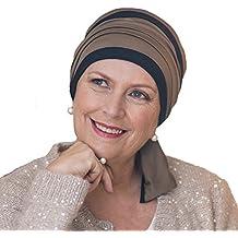 Elegante pañuelo Helene reversible en negro y marrón sin costuras visibles.
