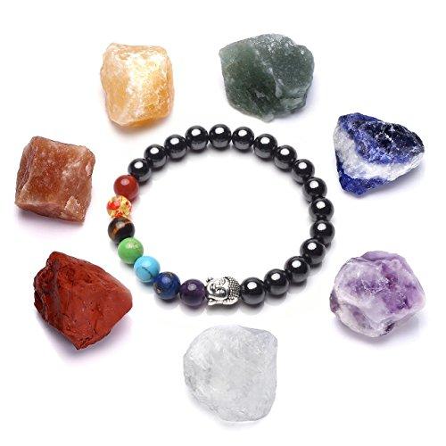 Crystaltears 7chakra w/testa di buddha perline ematite braccialetto terapia magnetica per artrite sollievo dal dolore, con pietre di cristallo grezza per reiki, guarigione, yoga, meditazione