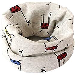 BIGBOBA Bufanda de puro algodón para niños. Bufanda calentadora de cuello para viajar al aire libre en otoño y en invierno, algodón, Blanco, 40*20cm