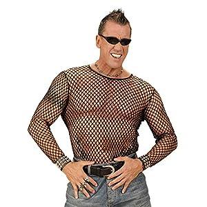 WIDMANN 00037 - Camiseta de malla para hombre, diseño años 80, color negro, XL/XXL