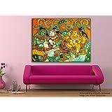 Tamatina Canvas Painting - Krishna Leela - Kerala Mural - Canvas Art.