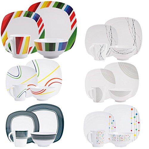 100% Melamin-Geschirr Color Strips Weiss/bunt eckig, wÃ…   04260241466485