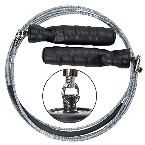 Springseil,Newdora Jump Rope Speed Rope seilspringen mit hautfreundlichen Griff und einstellbares Soft Seil für Fitnesstraining abnehmen Fat Burning übungen, für Kinder und Erwachsene -Schwarz