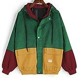 Hmeng Frauen Hoodie Jacket, Lelili Warm Drei-Farben-Patchwork Langarm-Reißverschluss-Taste up Pockets Jacke Outwear Mantel mit Kapuze (Weinrot, M)