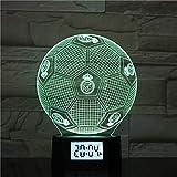 Luz Nocturna Del Real Madrid Football Club 3D, Luces De Fútbol De Gradiente De Colores, Despertador, Base, Luces Decorativas Led