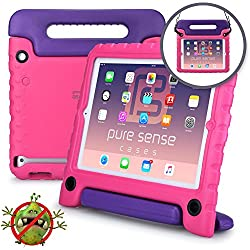 Galaxy Tab E 9.6 Funda para niños, Pure Sense Buddy Fuerte Anti Bacterias Libre de Gérmenes Tirante de Hombro Resistente, Protector de Juguetes Funda Portátil. (Rosa)