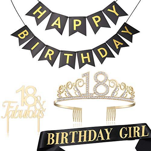 Coucoland Geburtstag Krone mit Geburtstag Schärpe Satin Tortenaufsätze Banner Birthday Crown Sash Cake Topper Banner Set Geburtstagsdeko für Damen Geburtstag Party Accessoires (18, 4 Stück) (Geburtstag Krone Gold)