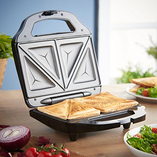 VonShef Sandwich Toaster Toastie Maker with 2 Slice Easy-Clean Non-Stick Plates – 700W – Stainless Steel