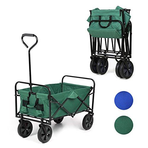 Sekey Chariot repliable Chariot pliante Brouette extérieure panier de plage Tout terrain chariot Remorque de jardin extérieur Chariot de transport,Vert